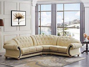 Версаче угловой диван белый