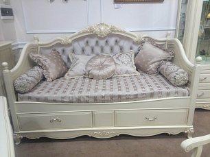 Белый Цветок кровать 90х190 велюр