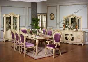 Моника 3173 столовая комплект: 2 дверная витрина + комод+стол +6 стульев