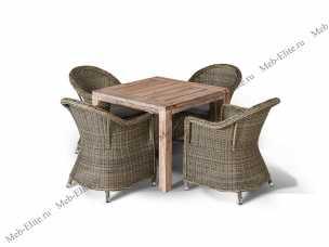 Ротанг Леричи: комплект:стол обеденный 90х90+4 кресла