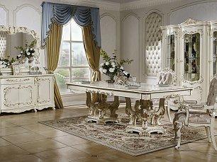Венеция К столовая комплект: витрина 4 дверная + буфет с зеркалом + стол обеденный 240/280/320х120 + стул 8 шт. + стул с подлокотниками 2 шт.