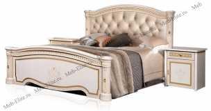 Карина 3 кровать 160х200 2 спинки+мягкий элемент беж глянец