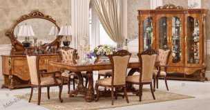 Наполеон 3888D столовая комплект:4дверная витрина+комод+стол+8стульев