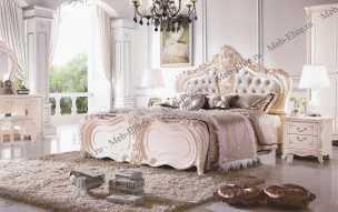 Амели спальня комплект: кровать 180+ 2 тумбы+ стол туал+пуф+ шкаф 4-ти двер слоновая кость
