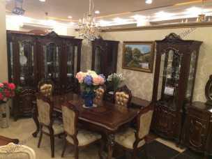 Магдалена столовая комплект: сервант 3 двер+комод с зеркалом+стол+4стул+2 стула с подлокотником  орех