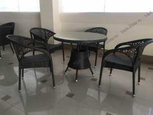 Мик ротанг комплект MK-3601-BR: стол обеденный 90х90 T90 + 4 стула Y90