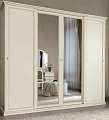 Аврора шкаф 4 дверный с зеркалом DL3120 (белый)