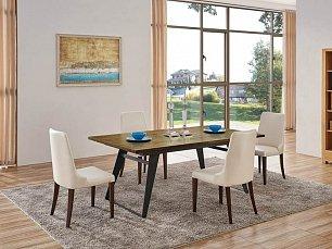 ЕСФ столовая комплект: стол обеденный 160/220х100 HA-1518-3 + стулья HB1640 4 шт. глянец