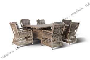 Ротанг Цесена комплект: стол обеденный 200х100+6 кресел