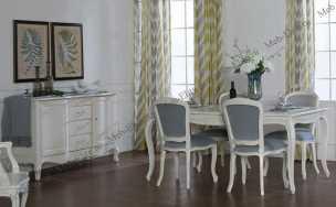 Кантри гостиная-столовая белый