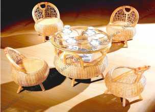 Мик ротанг комплект : чайный столик 70х70 МК-3447 + 4 стула МК-3448