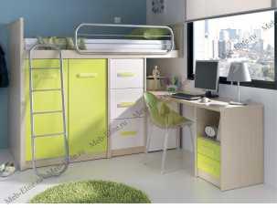 Данза детская 07: кровать-чердак +модуль кровати 2дверный+модуль кровати 3 ящика+стол письменный с тумбой