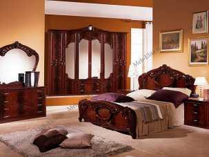 Ольга спальня комплект: кровать 2-х спальная, 2 тумбы, комод с зеркалом,шкаф 6-ти дв с зеркалом могано глянец