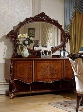 Роял комод с зеркалом орех+золото