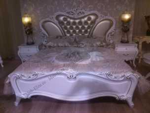 Эстелла кровать 180х200 белая, кожа