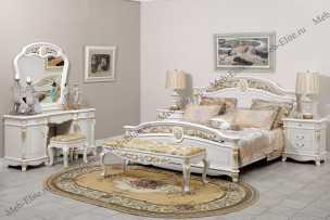 Афина спальня белая с золотом