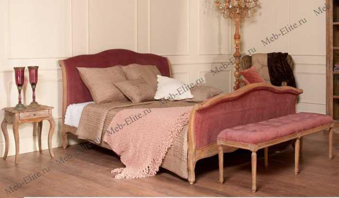 Кровать розовый бархат Ля Труфе с основанием 160x200