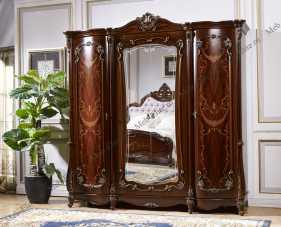 Магдалена шкаф 4 дверный с зеркалом орех