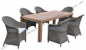 Ротанг Арбаро комплект: стол обеденный 200х100+6 кресел
