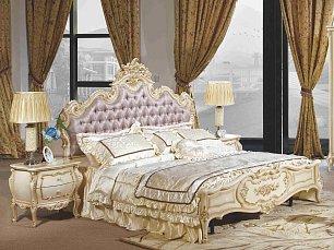 Милана 3886 ФБ спальня комплект: кровать 180х200 + 2 тумбы прикроватные + стол туалетный с зеркалом + шкаф 6 дверный + пуф