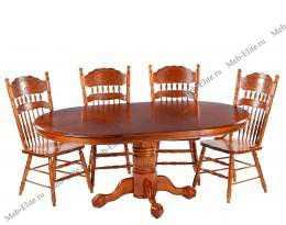 Мик столовая комплект: стол обеденный 122/183х122 MK-1110-GG + 4 стула MK-1117-GD