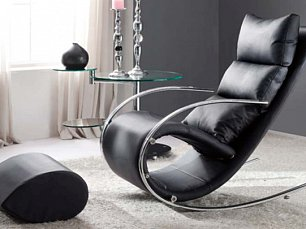 Мик кресло качалка с пуфом MK-5503-BL