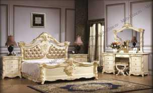 Опера Софа спальня комплект: кровать 180х200 + 2 тумбы прикроватные + туалетный стол с зеркалом + шкаф 4 дверный + пуф