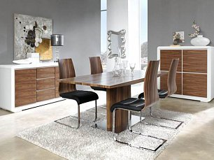 ЕСФ столовая комплект: стол обеденный 160/200х90 Дюпен DT-02 + стулья 1004 4 шт. глянец