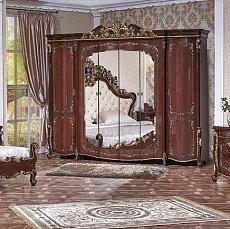 Венеция шкаф 6 дверный с зеркалом орех глянец