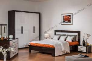 Мартель-2 спальня комплект: кровать 160+2 тумбы прикроватные+комод+зеркало (венге)