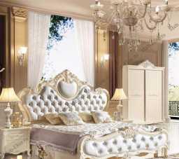 Виктория спальня комплект:  кровать 180х200 арт. 8818 + 2 тумбы прикроватные + туалетный стол арт. 8803 + пуф + шкаф 4 дверный