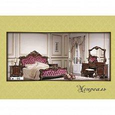 Монреаль спальня комплект орех: кровать 180х200 + 2 тумбы прикроватные + туалетный стол с зеркалом + шкаф 4 дверный