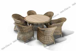 Ротанг Равенна комплект: стол обеденный 120х120+6 кресел