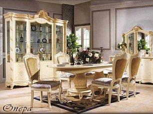 Опера Софа столовая комплект: витрина 4 дверная + буфет с зеркалом + стол обеденный 200/240 + 6 стульев