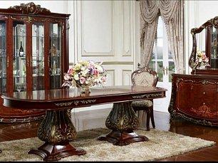 Монреаль столовая комплект орех: витрина 4 дверная + буфет с зеркалом + стол обеденный 240х120 + 6 стульев