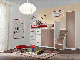 Данза детская 11: кровать-чердак +модуль кровати 2дверный+модуль кровати 3 ящика+лестница+шкаф 1дверный