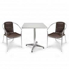 Комплект мебели 2+1 LFT-3099B/T3125-60x60 Brown 2Pcs алюминий