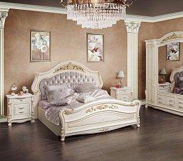 Касандра спальня комплект: кровать 180х200+2 тумбы прикроватные+стол туалетный с зеркалом+шкаф 4 дверный