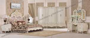 София 3877 спальня комплект: кровать 180х200+2 тумбы прикроватные+стол туалетный с зеркалом+ шкаф 6-дверный+пуф