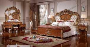 5119 спальня комплект: кровать 180х200 + 2 тумбы прикроватные + туалетный стол с зеркалом + шкаф 6 дверный + пуф