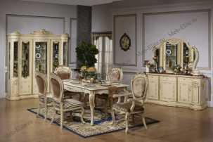 Изабель 3235 столовая комплект: витрина, комод с/з, стол обеденный, стул 6 шт