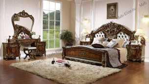 Энрика спальня комплект орех: кровать 180х200 + 2 тумбы прикроватные + туалетный стол с зеркалом + шкаф 4 дверный + пуф