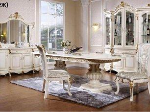 Руссано столовая комплект: витрина 4 дверная + буфет с зеркалом + стол обеденный 240х120 + 6 стульев