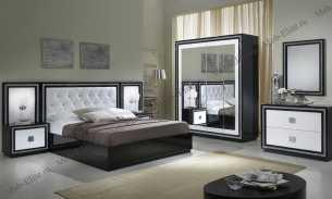 Кристэл спальня комплект: кровать 160+2 тумбы прикроватные+комод с/з+шкаф 4 дверный