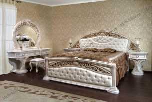 Мадрид  Классик спальня комплект: кровать 180+2 тумбы+стол туалетный с/з+пуф+комод+шкаф 6 дверный