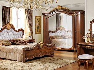 Элиана спальня комплект: кровать 180х200+тумба прикроватная 2 шт.+туалетный стол с навесным зеркалом и пуфом+шкаф 6 дверный глянец