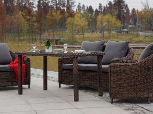 Кон Панна комплект: 2 местный диван + 2 кресла + стол обеденный 140х80 иск. ротанг
