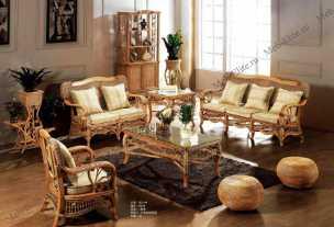Мик ротанг комплект MK-3464: 3 местный диван + 2 кресла + чайный столик (МК-3410) + журнальный столик (МК-3409)