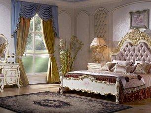 София К спальня комплект: кровать 180х200 + 2 тумбы прикроватные + туалетный стол с зеркалом + 5 дверный шкаф (без пуфа)