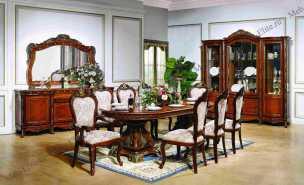 Эстелла 3295 столовая комплект: витрина 4 дверная+комод с/з+стол обеденный